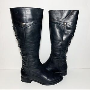 Arturo Chiang Black Leather Flat Riding Boots